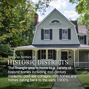Historic homes in Durham, Orange, Wake and Chatham counties.